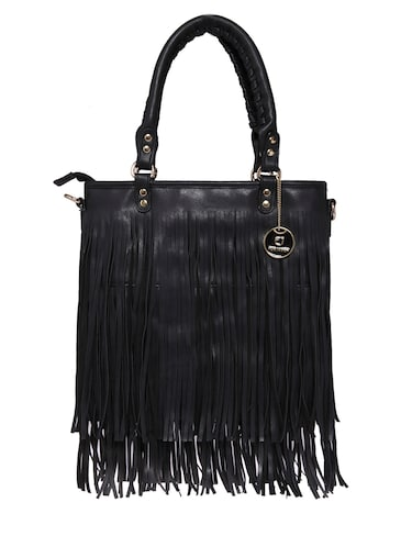 Buy Black Faux Leather Fringed Handbag by Fur Jaden - Online ... 8dee0e33d9cb4