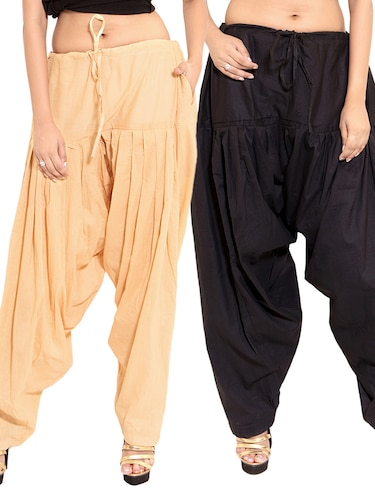 black cotton patiyala salwars - 11119993 - Standard Image - 1