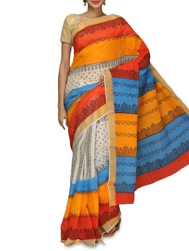 Buy Multicoloured Printed Handloom Kerala Cotton Saree By Komal