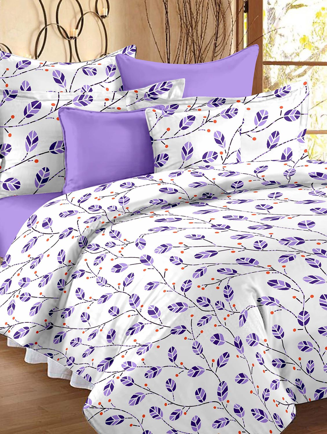 Buy White And Purple Printed Cotton Double Bed Sheet Set By