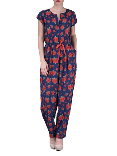 23a33d9d9ed Buy Floral Print Short Sleeves Poly-crepe Jumpsuit by Aardee ...