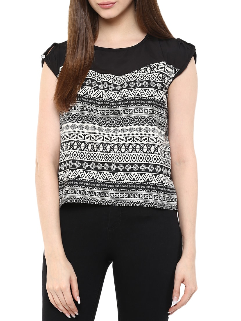 f7cf917566804 Buy Black Crepe Printed Asymmetrical Top by Mayra - Online shopping ...