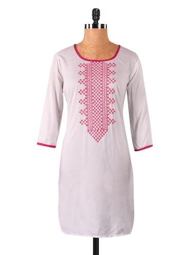 Buy White Kurta With Sindhi Embroidery By Varanga Online Shopping