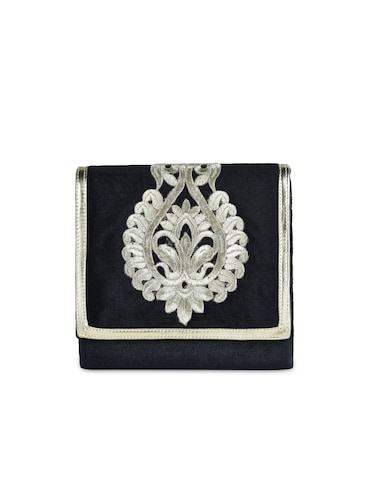 70f96aa0b9721 Buy Embroidered Black Velvet Clutch Cum Sling Bag for Women from ...
