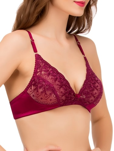 cd3f4208d6 Buy Solid Wine Satin Lace Bra by Melisa - Online shopping for Bra in ...
