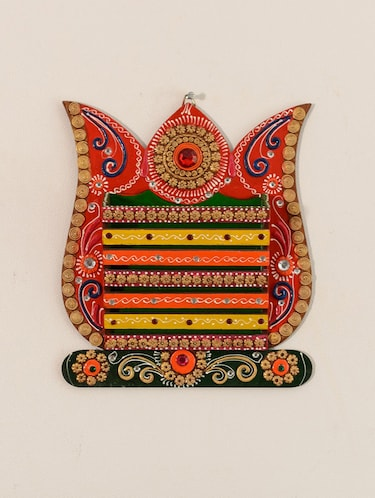 Buy Multicolour Paper Mache Wooden Wall Mounted Magazine Holder For