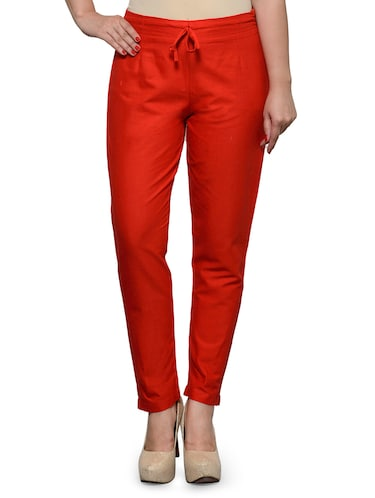 red cotton trouser - 11698446 - Standard Image - 1