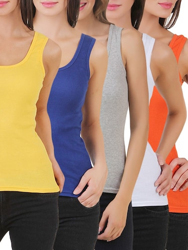 multi colored cotton tank tee set of 5 - 11707304 - Standard Image - 1