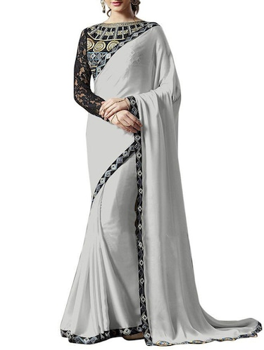 700f6c113dfef Silver Satin Chiffon Bordered Saree With Blouse By Man Mandir