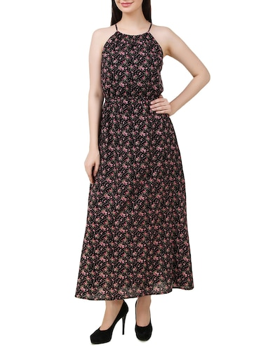 black floral printed cotton maxi dress - 11876835 - Standard Image - 1