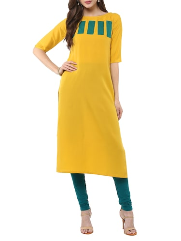 Straight color block Long Kurta - 11900667 - Standard Image - 1