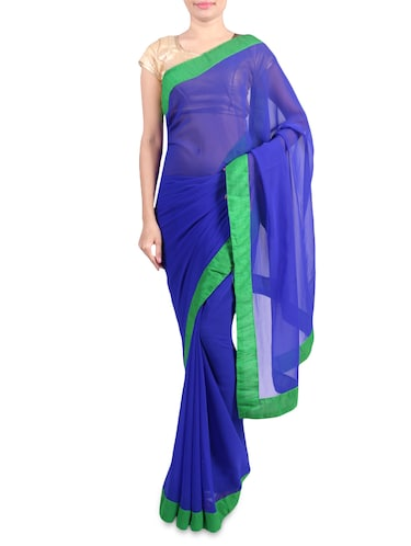 Blue faux georgette saree with green border - 1192807 - Standard Image - 1