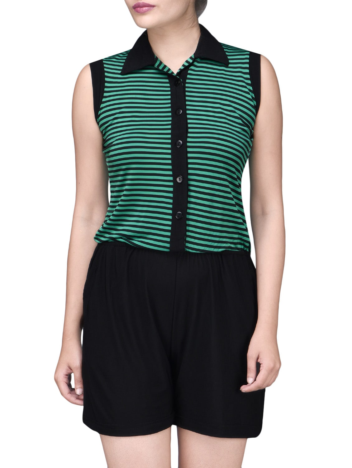 d97315aad681 ... Black and Green Polyspandex Striped Jumpsuit - 1201773 - Zoom Image - 1