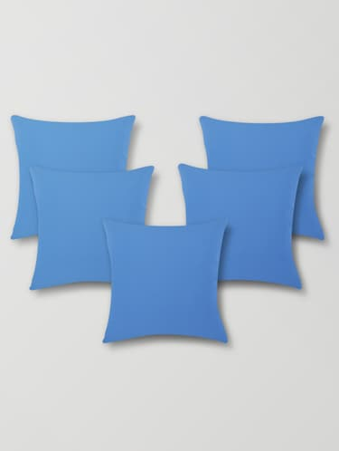Sky Blue Cotton & Polyester Print Cushion Cover - 1206447 - Standard Image - 1