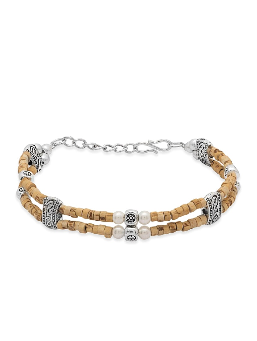 Buy Beige Color Oxidised Silver Bracelet With Tulsi Beads By Voylla