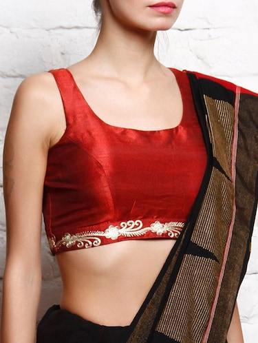 Red dupion embroidered sleeveless blouse - 12095431 - Standard Image - 1