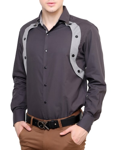 grey cotton casual shirt - 12096558 - Standard Image - 1