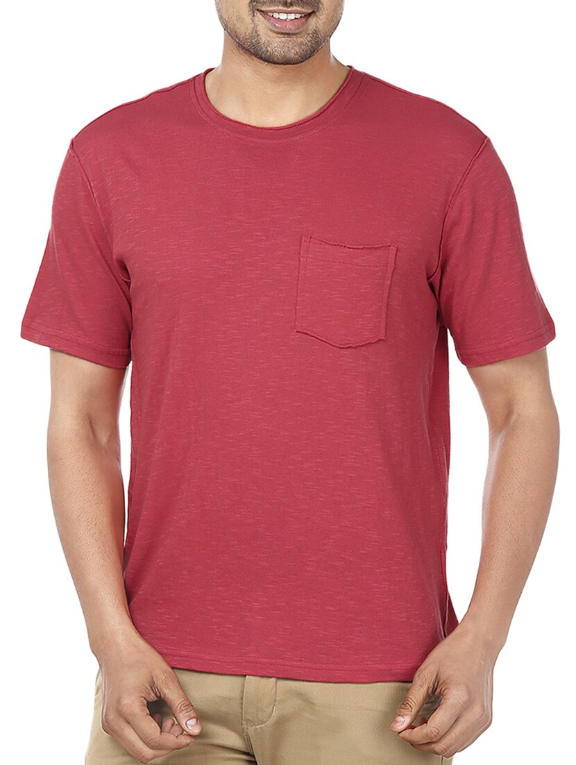 Buy Solid Maroon Cotton T Shirt By Ruse Online Shopping For T