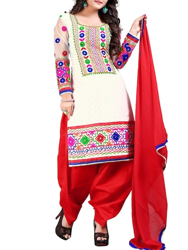 6fac1be2f3ea Buy White Patiyala Suits Semi-stitched Set for Women from Fashion ...