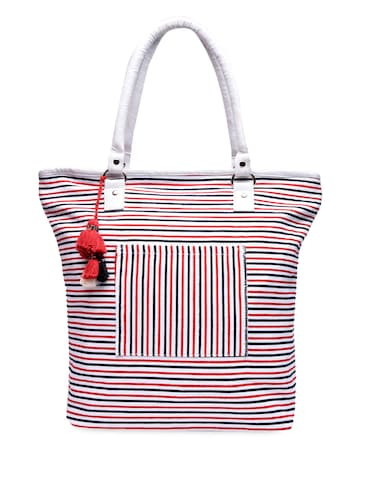 d266a9217 Buy Red Yarn Dyed Striped Canvas Tote Bag for Women from Art Forte ...