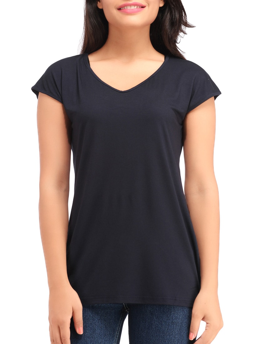 df02a121aa68c8 Buy V Neck Navy Blue Tee for Women from Cottinfab for ₹359 at 60 ...