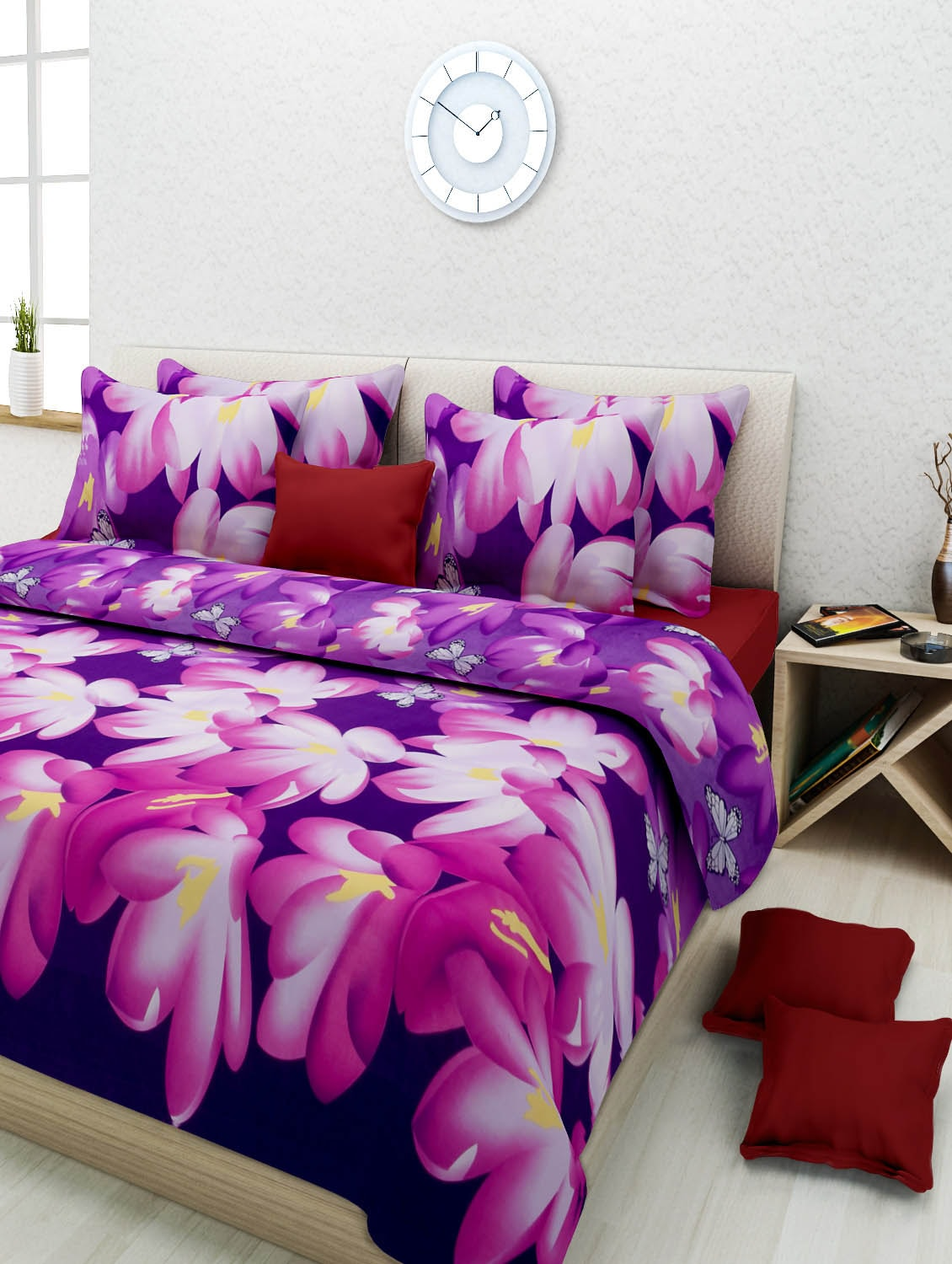 6867b4c761 ... Multi-coloured Poly Cotton 3D Printed Double Bed Sheet Set - 1228757 -  Zoom Image