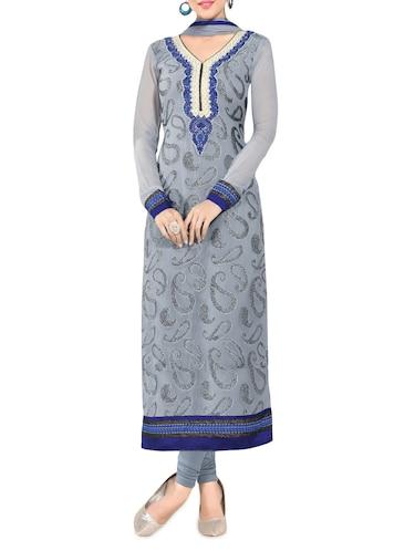0405357cd6 Grey Embroidered Georgette Unstitched Salwar Suit Piece