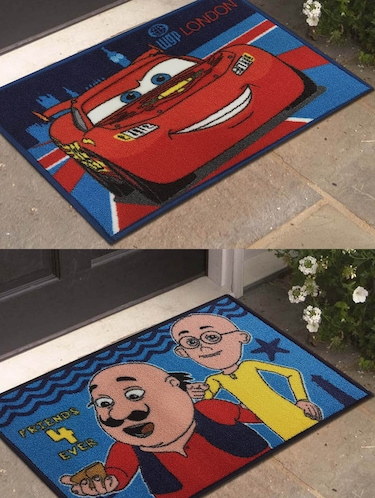 Cars and Motu Patlu - Athom Trendz - Small Doormat- 40X60 Set of 2 Door Mats