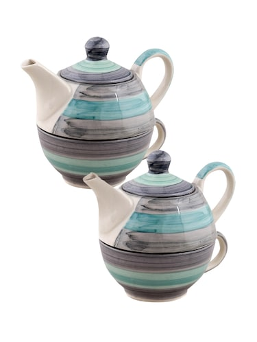 VarEesha Twirling Green Hand crafted By Rural Artisans  Ceramic Cup with Kettle Set of 2 - 12399431 - Standard Image - 1