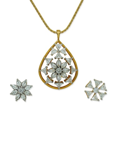 White brass pendant and earrings set - 12441108 - Standard Image - 1