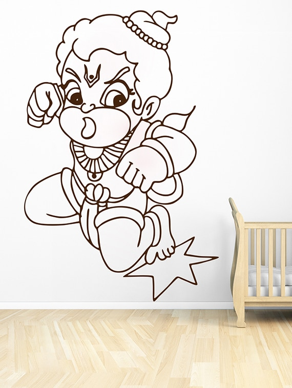 buy wallskart bal hanuman punch style brown wall sticker