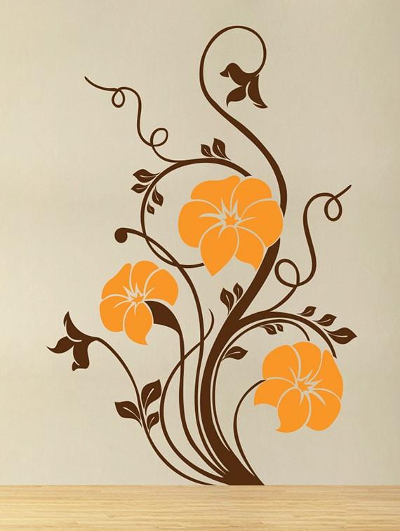 buy wallskart orange flowers and brown tandels artwork brown wall
