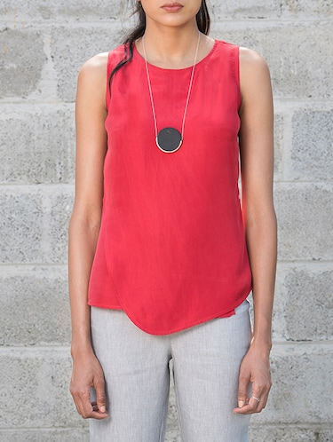 3f547a75241a4 Buy Solid Red Pure Silk Sleeveless Top for Women from Brass Tacks ...