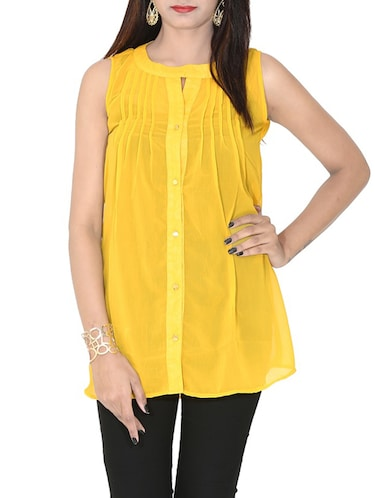 yellow georgette regular top - 12577850 - Standard Image - 1