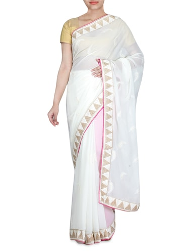 Buy White Embroidered Chiffon Saree By Jalan Fashion Online