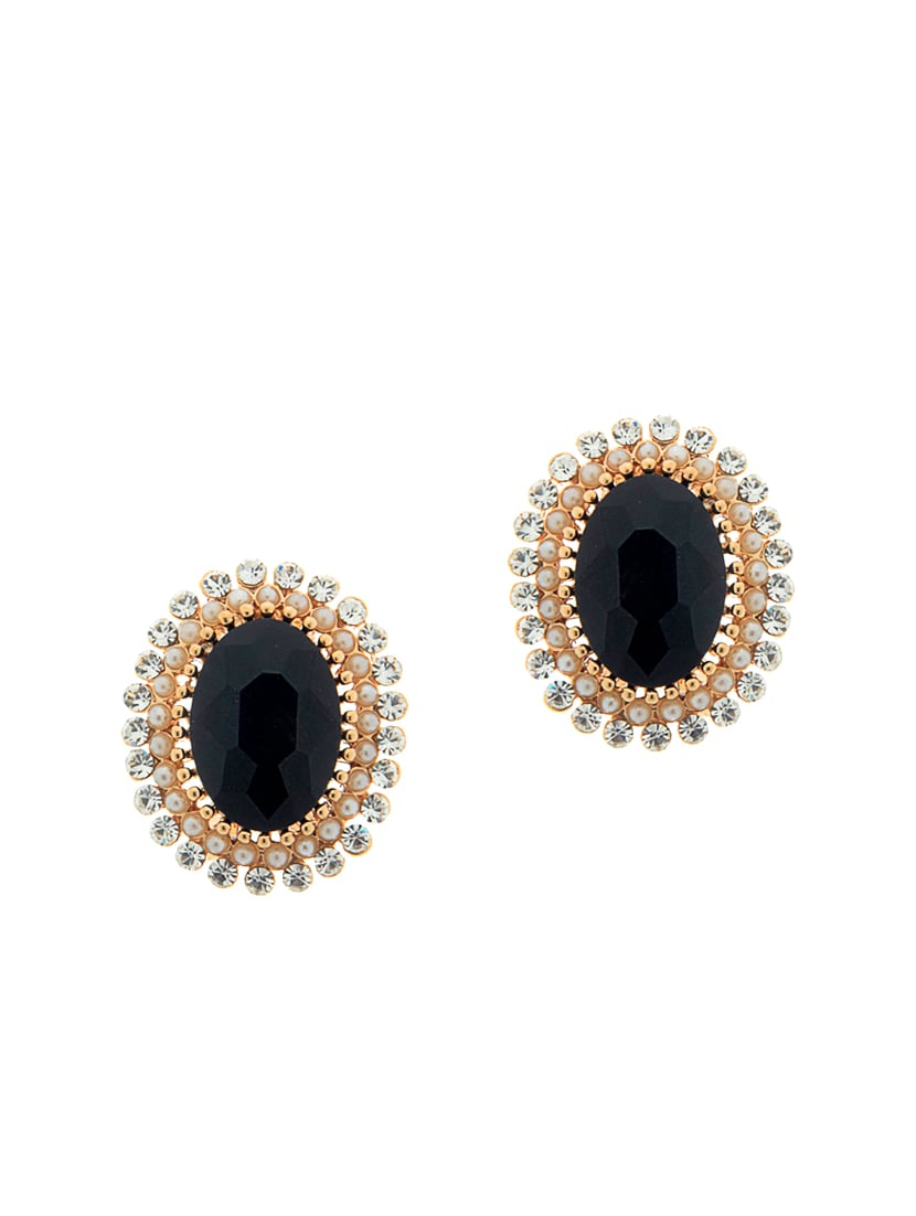 Unique Collection Black Stones Embedded Studs Earrings For Women