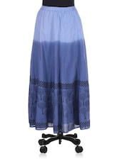 Blue Tree Printed Cotton Skirt - By