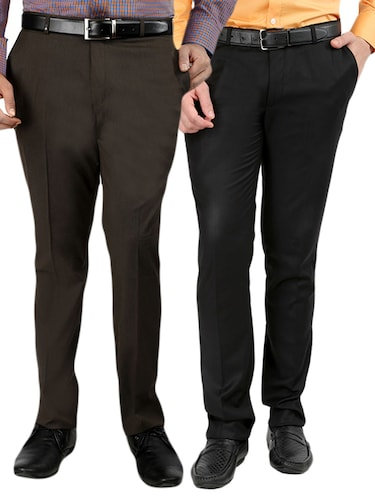 black  set of 2 polyester flat front trousers formal trouser - 12823770 - Standard Image - 1