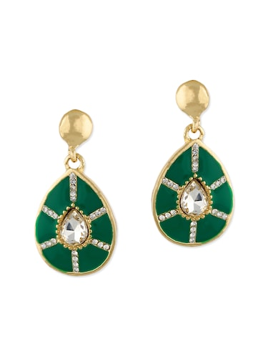 green metal drop earrings - 12866728 - Standard Image - 1