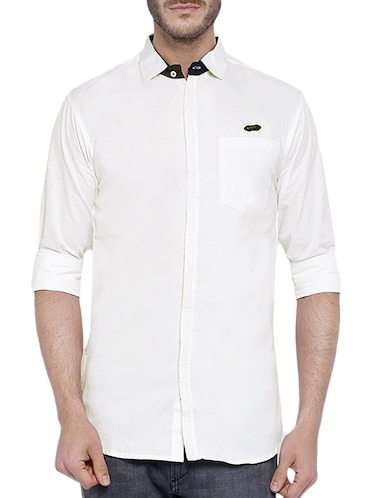 white cotton casual shirt - 12929075 - Standard Image - 1