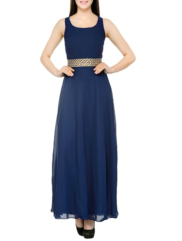 blue georgette stitched gown - 12933526 - Standard Image - 1