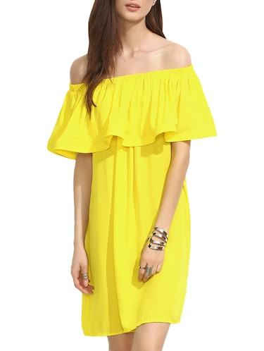 be62fe2947ff Buy Yellow Georgette Off Shoulder Dress by Liebemode - Online ...