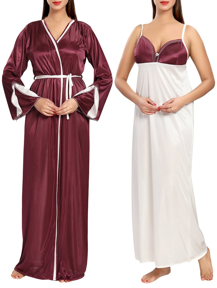 3679dd080f Buy Maroon Satin Nightwear Set by Be You - Online shopping for ...