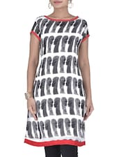 White And Grey Printed Georgette Kurti - By