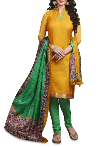 Yellow Printed Jutth Silk Unstitched Suit Set - 1297182 - Standard Image - 1