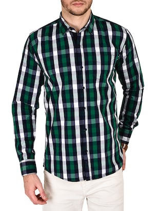 green cotton checked casual shirt - 12990935 - Standard Image - 1