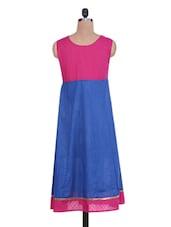 Pink And Blue Cotton Anarkali Kurti - By