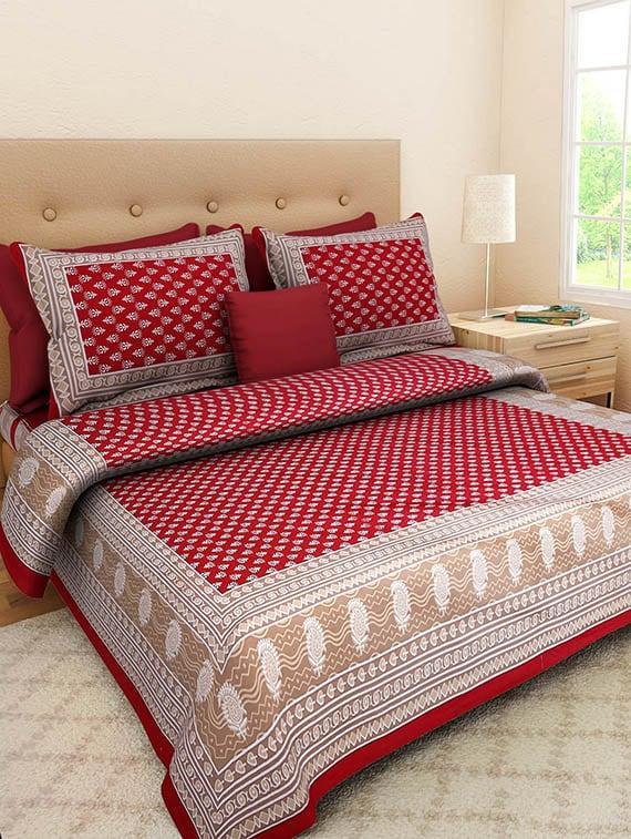 5627c67ba0bd ... Gangaur Fashion Red Colour Ethnic Print 1 Double BedSheet with 2 Zipper  Pillow Covers - 13004565
