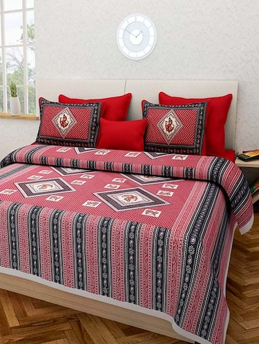 a16c375b922a Gangaur Fashion Red Colour Ethnic Print 1 Double BedSheet with 2 Zipper  Pillow Covers