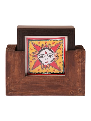 Buy Imithila Madhubani Wooden Coasters Set Of 4 With Stand Of